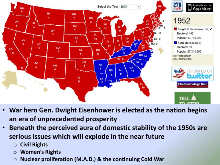 War hero Gen. Dwight Eisenhower is elected as the nation begins an era of unprecedented prosperity