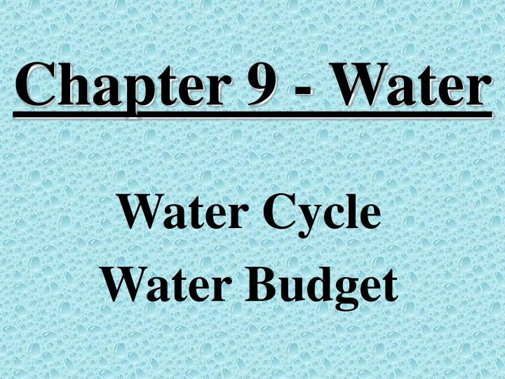 chapter 9 water n.