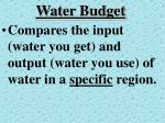 water budget