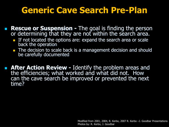 Generic Cave Search Pre-Plan