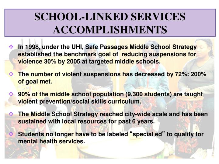 In 1998, under the UHI, Safe Passages Middle School Strategy established the benchmark goal of  reducing suspensions for violence 30% by 2005 at targeted middle schools.