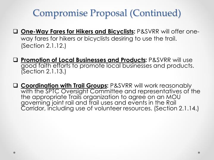 Compromise Proposal (Continued)