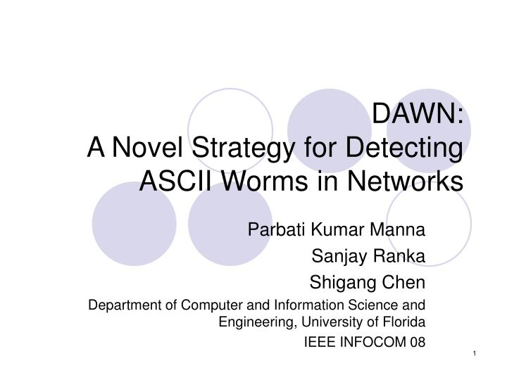 Dawn a novel strategy for detecting ascii worms in networks