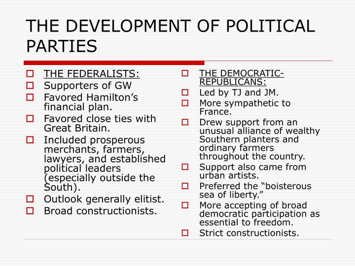 THE DEVELOPMENT OF POLITICAL PARTIES