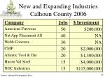 new and expanding industries calhoun county 2006