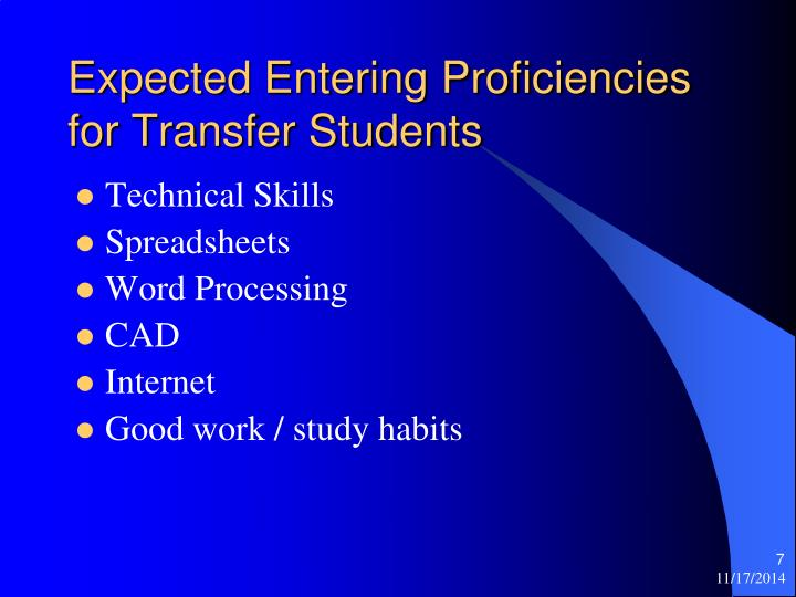 Expected Entering Proficiencies for Transfer Students