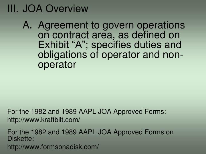 III.JOA Overview