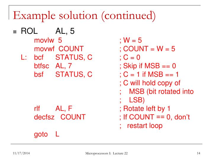 Example solution (continued)