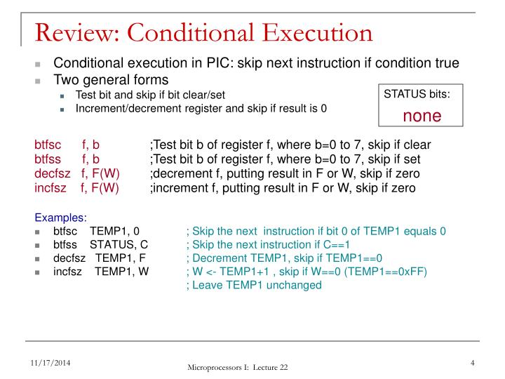 Review: Conditional Execution