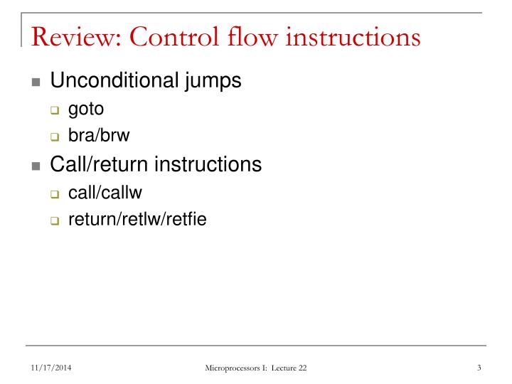Review control flow instructions