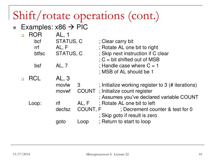 Shift/rotate operations (cont.)