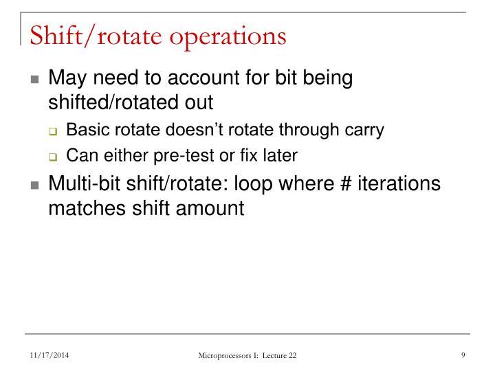 Shift/rotate operations