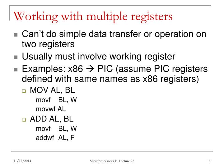 Working with multiple registers