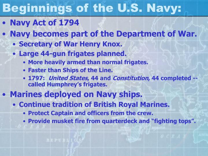 Beginnings of the U.S. Navy: