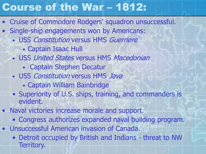 Course of the War – 1812: