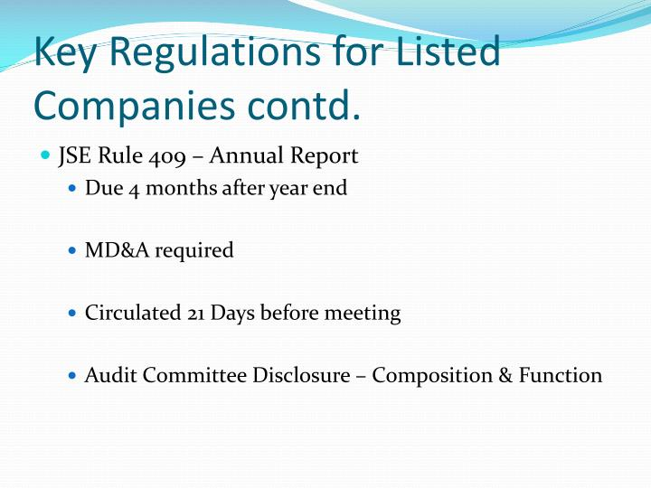 Key Regulations for Listed Companies contd.
