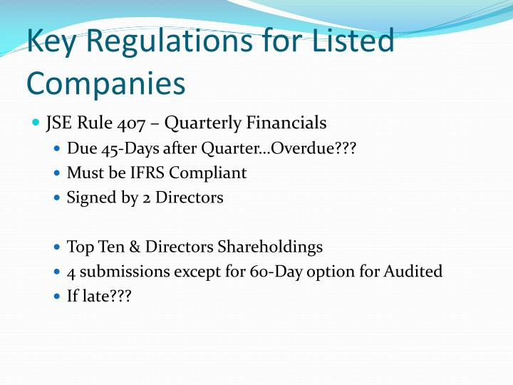 Key Regulations for Listed  Companies