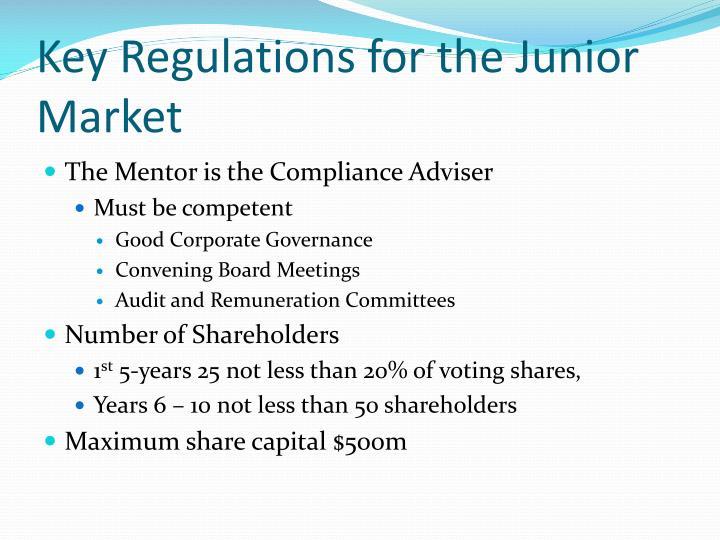 Key Regulations for the Junior Market