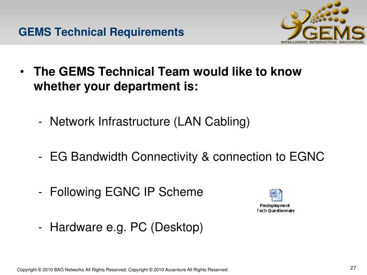 GEMS Technical Requirements