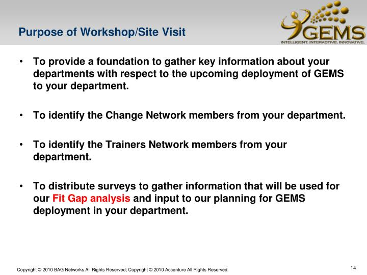 Purpose of Workshop/Site Visit