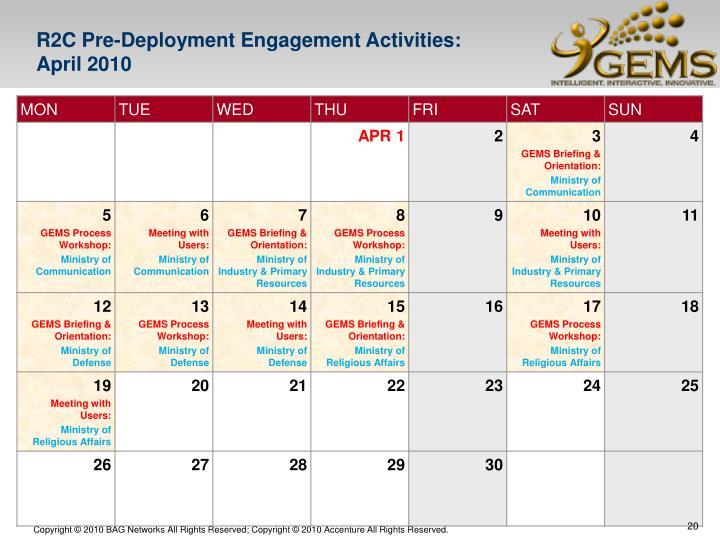 R2C Pre-Deployment Engagement Activities: