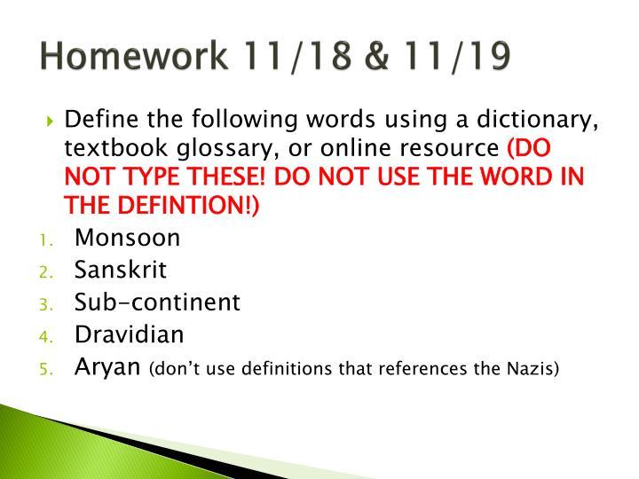 Homework 11/18 & 11/19