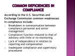 common deficiencies in compliance