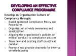 developing an effective compliance programme