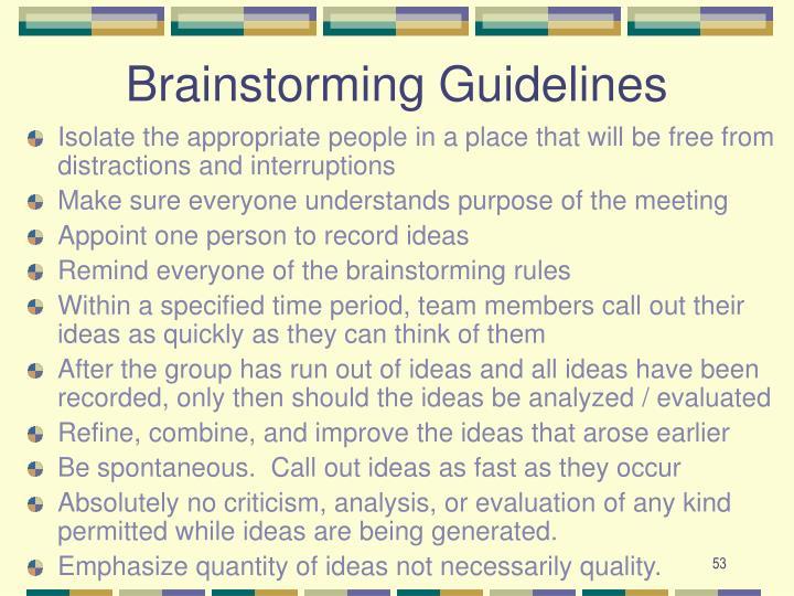 Brainstorming Guidelines