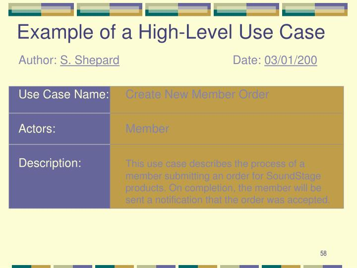 Example of a High-Level Use Case