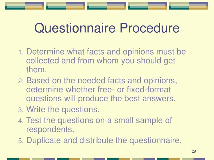 Questionnaire Procedure