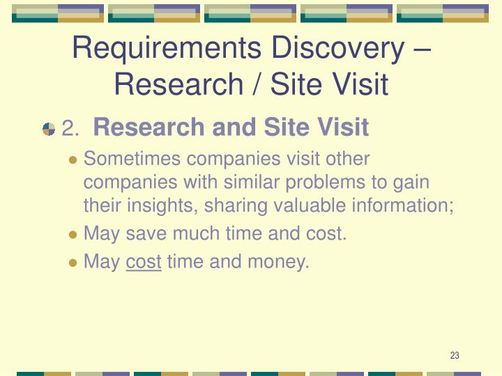 Requirements Discovery – Research / Site Visit