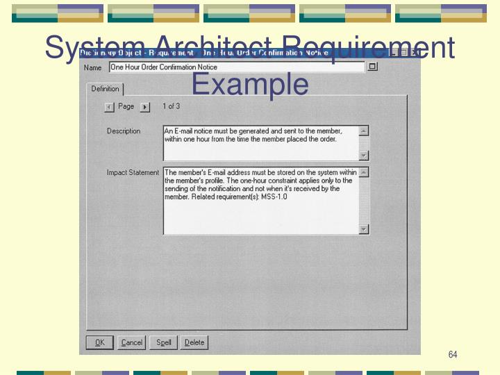 System Architect Requirement Example