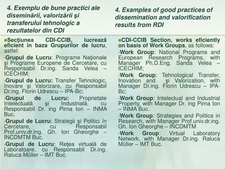 Secţiunea CDI-CCIB, lucrează eficient în baza Grupurilor de lucru