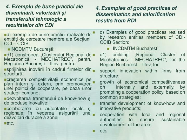 d) exemple de bune practici realizate de entităţi de cercetare membre ale Secţiunii CCI – CCIB: