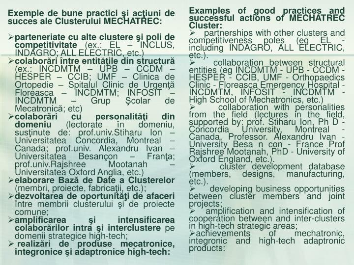 Examples of good practices and successful actions of MECHATREC Cluster: