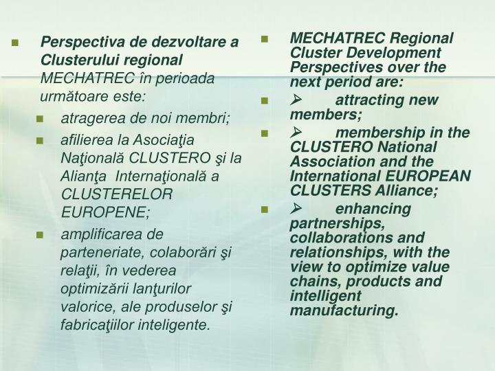 Perspectiva de dezvoltare a Clusterului regional