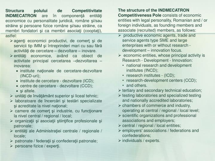 The structure of the INDMECATRON  Competitiveness Pole