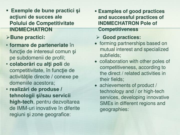 Exemple de bune practici şi acţiuni de succes ale Polului de Competitivitate INDMECHATRON