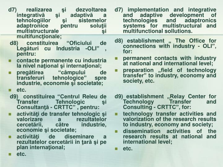 d7) realizarea şi dezvoltarea integrativă şi adaptivă a tehnologiilor şi sistemelor adaptronice pentru soluţii multistructurale şi multifuncţionale;