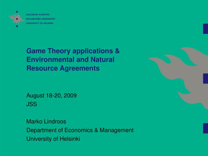 Game theory applications environmental and natural resource agreements