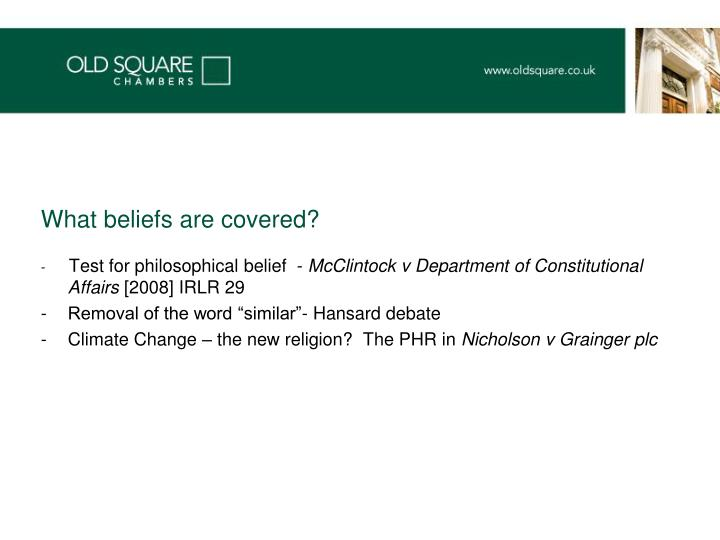 What beliefs are covered?