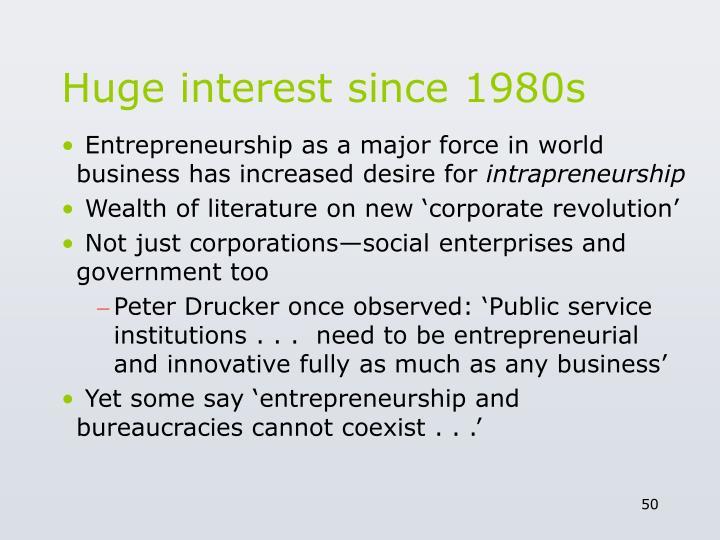 Huge interest since 1980s