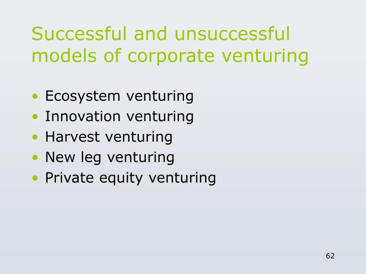 Successful and unsuccessful models of corporate venturing