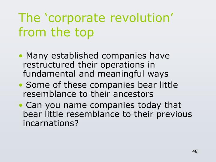 The 'corporate revolution' from the top