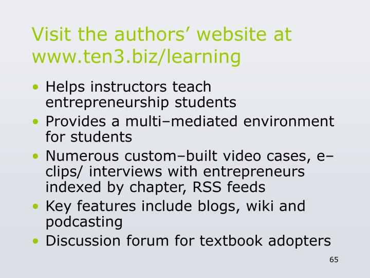Visit the authors' website at www.ten3.biz/learning