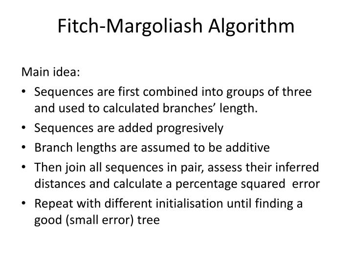Fitch-Margoliash Algorithm