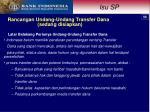 rancangan undang undang transfer dana sedang disiapkan