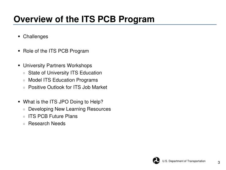 Overview of the its pcb program