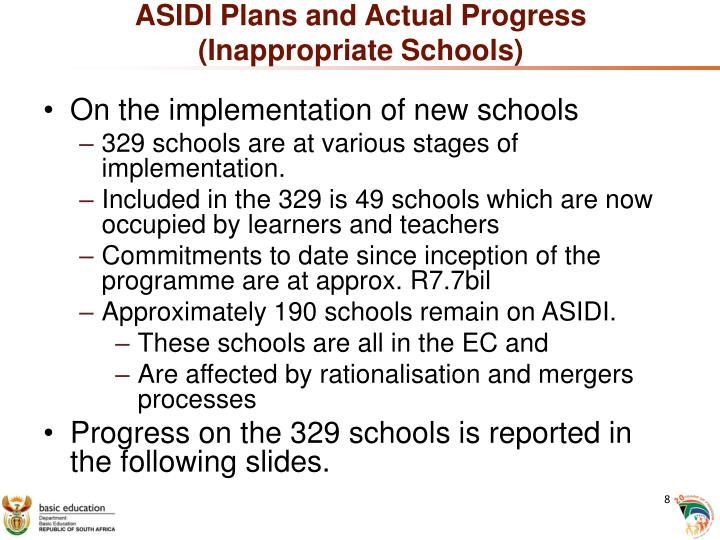 ASIDI Plans and Actual Progress (Inappropriate Schools)